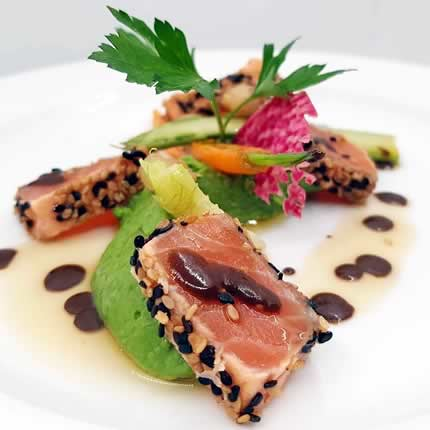 Ambassade d'Auvergne, Salmon filet marinated in Sesame, black Garlic grout, spring mini vegetables